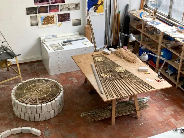 Ângela Ferreira, atelier Coruchéus, Lisboa, Outubro 2020