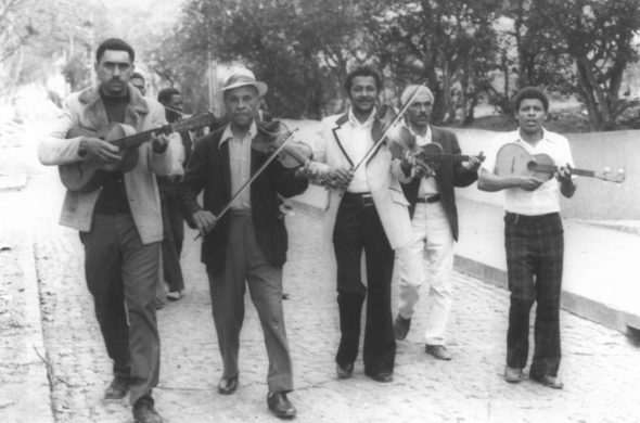 A violinist known as Nhô Raul performs with other morna musicians in the Cape Verdean Island of Brava. Courtesy of Cape Verde's Cultural heritage institute