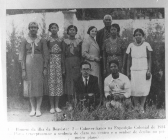 A photo of the first Portuguese colonial exhibition in 1934 where some 'cantadeiras' - women singers - from Boavista went to represent Cape Verde. Courtesy of Cape Verde's Cultural heritage institute