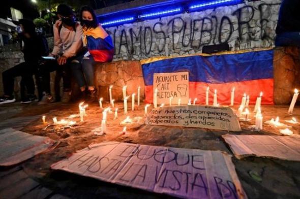Muitos manifestantes pedem a demissão do presidente Iván Duque (BBC)