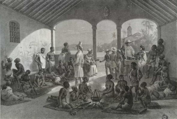 Pintura de Johann Moritz Rugendas retrata concentração de escravizados em mercado no Rio de Janeiro