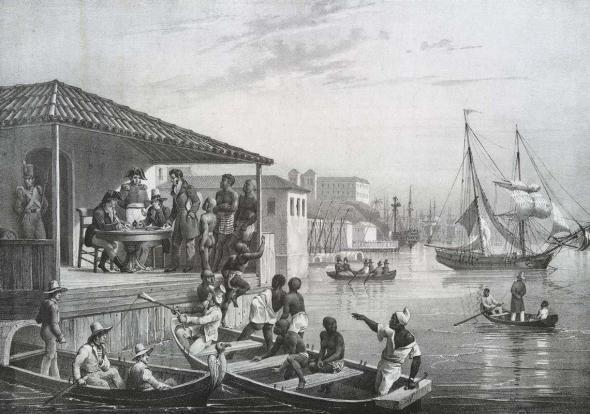 Pintura de Johann Moritz Rugendas mostra um desembarque de escravizados no Rio de Janeiro