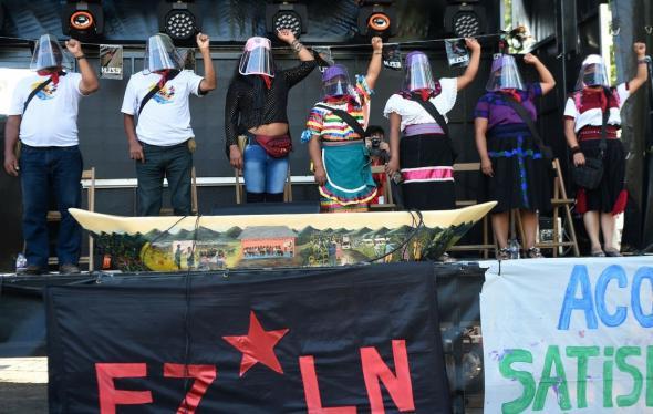 Quando chegaram a Vigo, os zapatistas baptizaram o lugar como Terra Insubmissa (AFP)