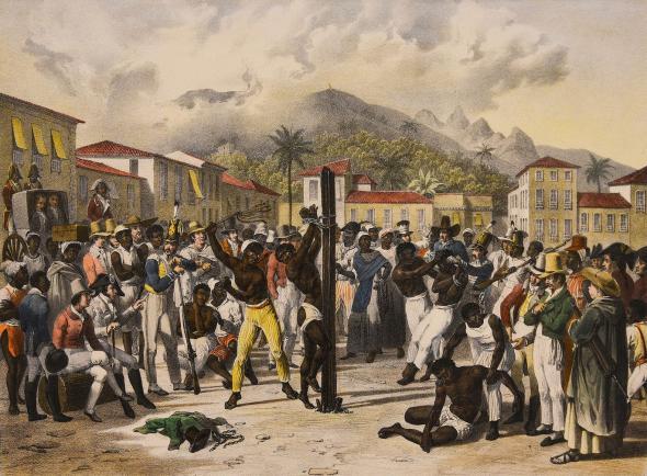 Punição de um escravo no Brasil, por Mauricio Rugendas (circa 1830) | Domínio Público