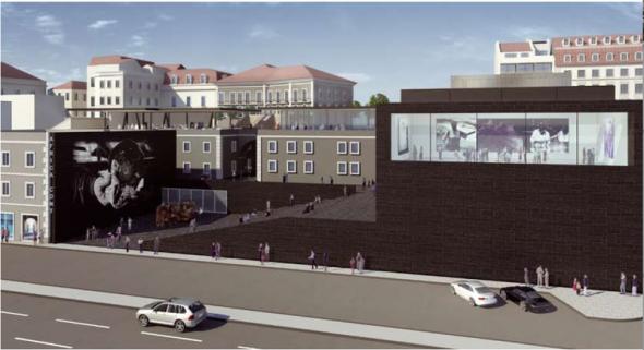 Projecto de D. Adjaye para a implantação futura do África.Cont, anunciado como um centro de cultura africana contemporânea pela C.M.Lisboa.