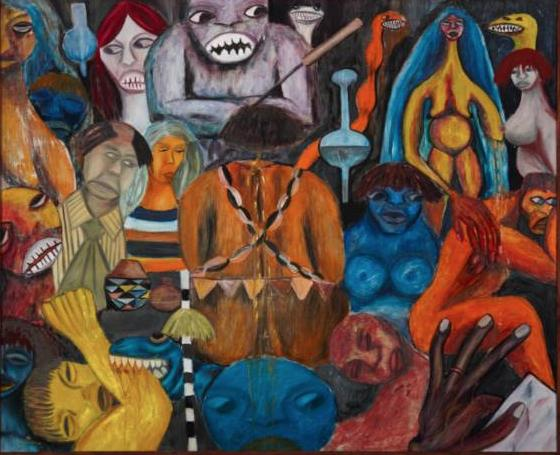 Malangatana,Cena de feitiço com casal Guedes, 1961. 100,5 x 122 cm.
