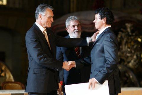 recepção do Prémio Camões, com Cavaco Silva e Lula da Silva