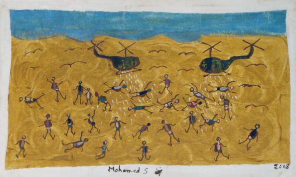 Guerra aos migrantes II. Mohamed Sissoko e Dramane Bouaré, 2008. Helicópteros espanhóis interceptam-nos a caminho das cercas e lançam-nos granadas de gás lacrimogéneo.