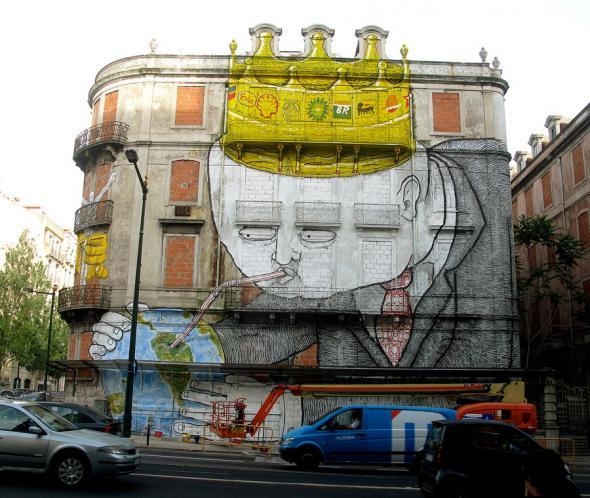 Intervenção dos Gémeos em Lisboa.