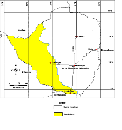 Map of Zimbabwe showing the location of study area.
