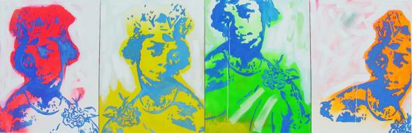 Mona N'Zinga, Yonamine, 2005, técnica mista sobre tela 4 x [60 x 80cm] Cortesia Colecção Sindika Dokolo, Luanda