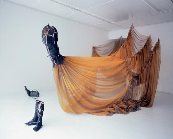 Nicholas Hlobo, Unongayindoda (One Who Almost Looks Like a Woman), 2005-2006,  260 x 600 x 330 cm, courtesy of Alexander Rhomberg Collection, Austria and Michael Stevenson Gallery, Cape Town.