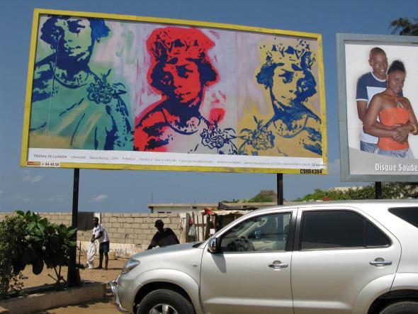 outdoor com obra de Yonamine, Trienal de Luanda 2007