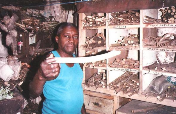 Um dos yerberos que vende paus mágicos em Havana.