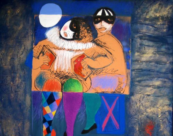 columbina de dourar sonhos de pierrot, pintura de Roberto Chichorro