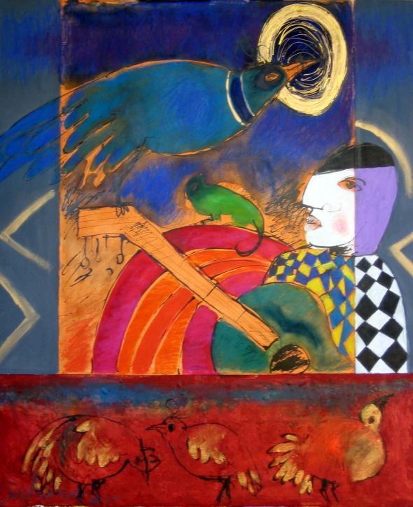serenata de arlequim, pintura de Roberto Chichorro
