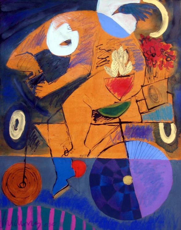 bicletando de noite com pássaro, pintura de Roberto Chichorro