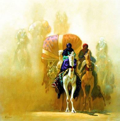 Pintura de Hocine Ziani, Berberes em caravana