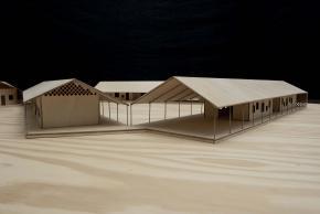 Pedro Maurício Borges. Escola para o Ensino Básico unificado de Cacheu. Bairro do Campo, Cacheu, Guiné-Bissau (maqueta).