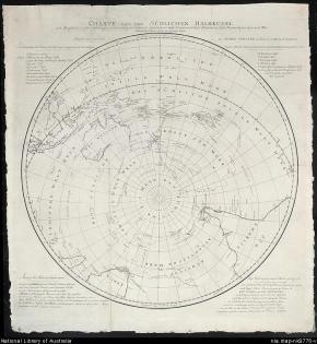 Mapa da Antártida, James Cook e Georg Forster, Voyage Round the World.