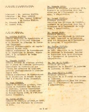 Lista dos médicos ao serviço do CVAAR (Boletim do CVAAR nº 1, de Novembro 1961, pag. 5)