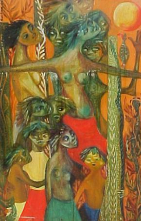 Trabalho (pormenor) de Bertina Lopes, 1960 (Colecção do Banco de Moçambique)