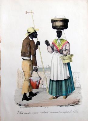 Blanchisseur noir et femme noire  vendant des graines de lupin dans la ville de Lisbonne