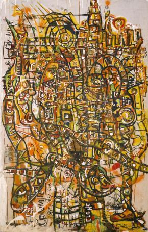 Œuvre de Marco Kabenda 'Sur notre terre de Luanda '.