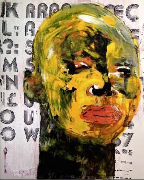 Alex da Silva (Xand). Mulatu's mood, Técnica mista s/ papel preparado e epoxy, 27x35 cm, 2015