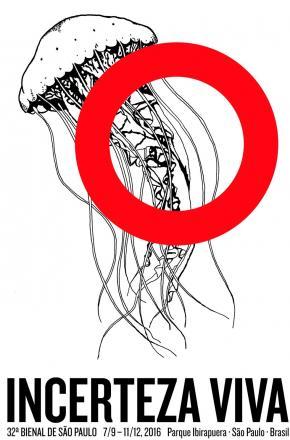 Cartaz da 32ª Bienal de São Paulo. Design Bienal Aninha de Carvalho, Adriano Campos e Roman Atamanczuk