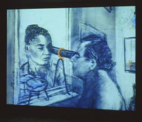 William Kentridge, still from Felix in Exile, 1994, Film, 35 mm, shown as video, projection, black and white, and sound (stereo), duration 8 min 43 sec
