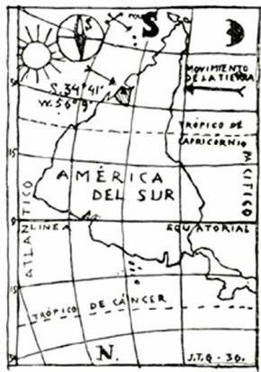 Jaoquín Torres-García,Inverted map of America, 1936.