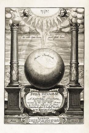 Frontispício do livro de Francis Bacon Sylva Sylvarum or, A natural history, in Ten Centuries (1669). Reprodução.