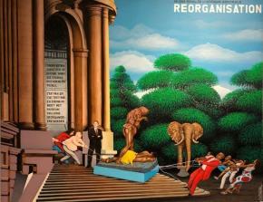 Foto de parede com a pintura Réorganisation, de Chéri Samba (2002), no AfricaMuseum | 2018