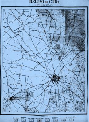 Mapa do solo por Amílcar Cabral para o estudo 'O Problema da Erosão do Solo. Contribuição para o seu Estudo na Região de Cuba (Alentejo)', 1951, fonte Estudos Agrários de Amílcar Cabral, Instituto de Investigação Científica Tropical, Instituto Nacional de Estudos e Pesquisa Lisboa and Bissau, 1988, p 174