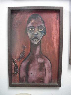 Retrato de Mutxhini Mario Malangatana (filho do artista), óleo s/unitex,1960, Col.Malangatana