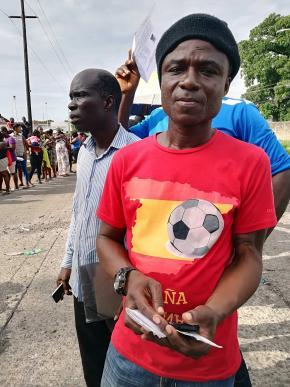 Gbono Washington, migrante liberiano que viveu quase 10 anos em Angola. Pedro Cardoso