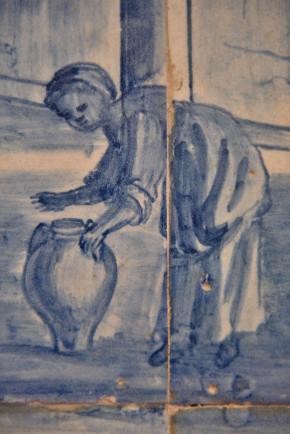 Painel de azulejos (pormenor), séc. XVIII, na Casa do Corpo Santo - Museu do Barroco (Setúbal).