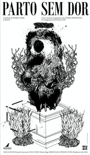 Cartaz do filme 'Parto sem dor', de Maria Mire. Desenho de André Lemos, design de Dayana Lucas
