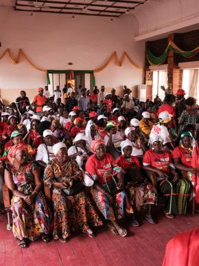 Bissau, Guinea Bissau (March 8, 2019) – Women from the PAIGC party in Guinea Bissau gather for an event on International Women's Day, two days before legislative elections where a new law required that 36% of candidates be women. Image credit Ricci Shryock.