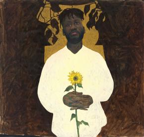 Amoako Boafo. Golden Stool (Self-Portrait), 2017. Ross-Sutton Gallery