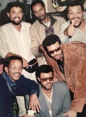 Armando Tito with fellow Cape-Verdean musicians, Paulinho Vieira, Toy Vieira, Vaiss, Luis and Vojinha. Courtesy of Cape Verde's Cultural heritage institute