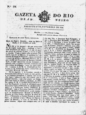 Gazeta do Rio de Janeiro, edição de 16 de novembro de 1816 (frente e verso)
