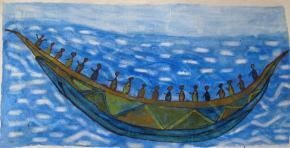 Lançamento do barco à água. Adama Sissoko, 2010.