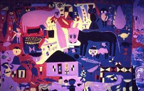 Pormenor da decoração mural do Hotel Chuabo em Quelimane (projecto de Arménio Losa acompanhado e adaptado pelo arq. Figueirinhas, em 1962). Intervenção colectiva. Arquivo Pancho Guedes.