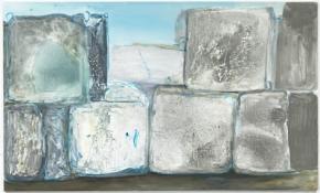 Marlene Dumas, Mindblocks, 2009 óleo sobre tela, 180 x 300 cm