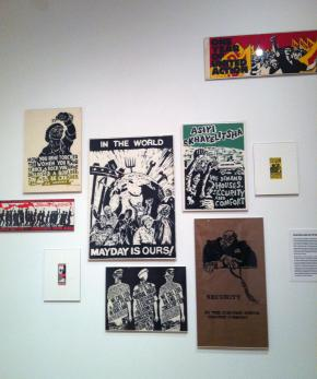 Posters of various collectives and William Kentridge, 1980's.