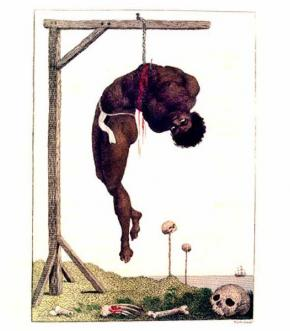 'A Negro Hung Alive' by the Ribs to a Gallows, by William Blak