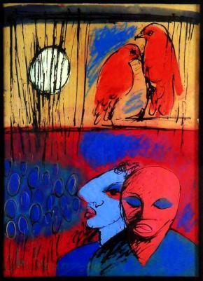 passeio nocturno, pintura de Roberto Chichorro