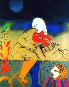 noite com violino e pássaro verde, pintura de Roberto Chichorro